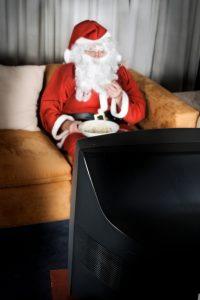 santa watching Tv photo